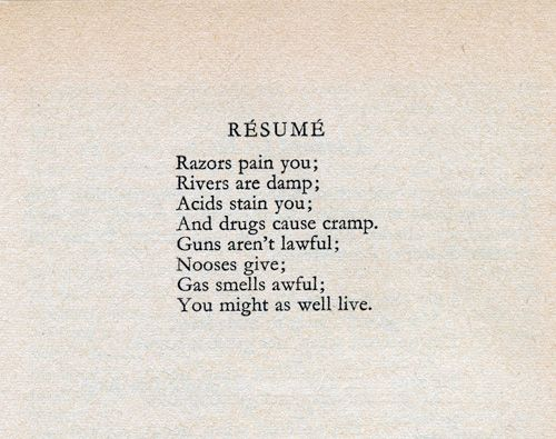 8 best Dorothy Parker images on Pinterest Dorothy parker, Poem - dorothy parker resume