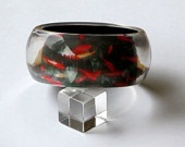 Clear #Lucite #Bangle #Bracelet with Photo Image Picture of #RedFish under Water $75.00 #resinjewelry made by www.heronsfeathers.com