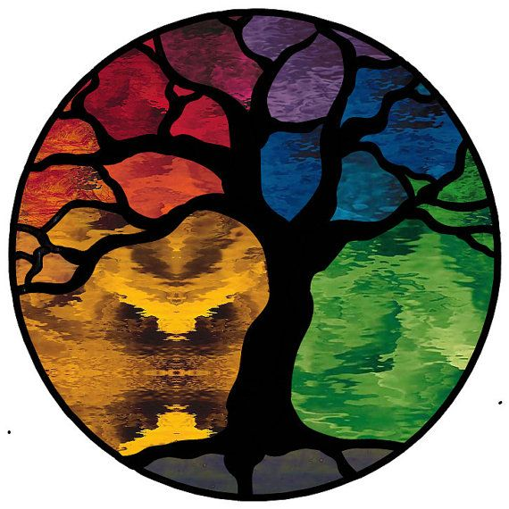 Tree of Life Stained Glass Panel by AGlassMenagerieEtc on Etsy, $377.00