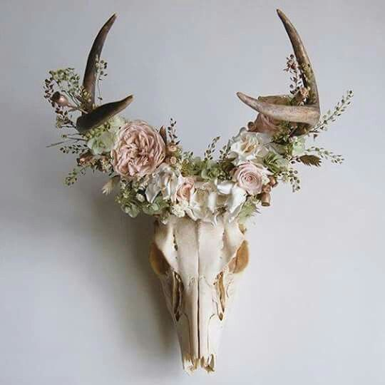 Deer skull mount with floral