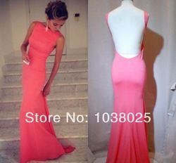 Long backless bridesmaid dress