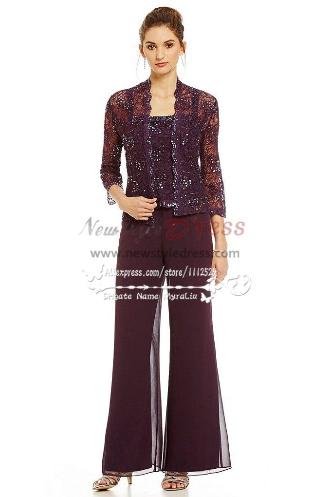 3pc elegant mother of the bride pant suits dress lace for Dress pant suits for weddings