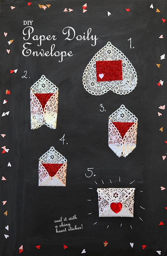 super easy valentines day craft DIY paper doily envelope