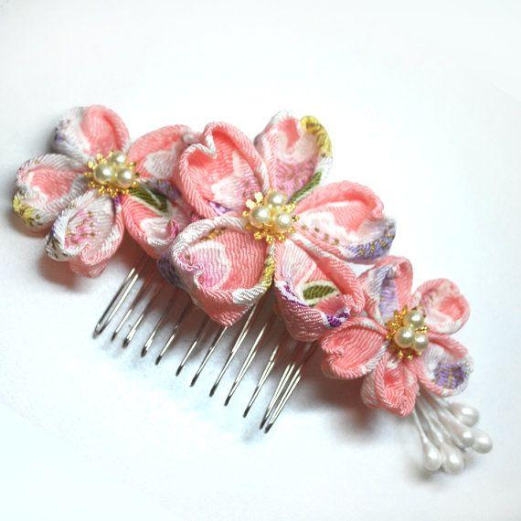 Pink Cherry Blossoms Chirimen Tsumami Kanzashi Made by hanatsukuri, $19.99