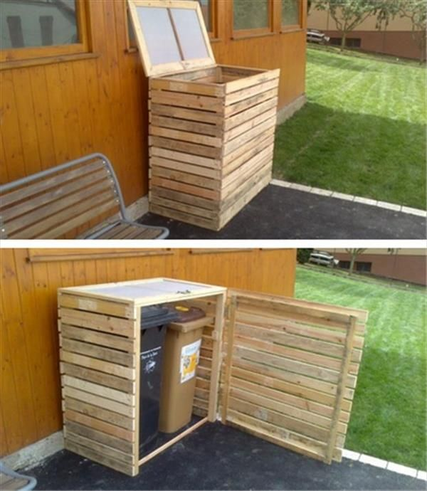 Pallet Outdoor Trash Bins Holder - 10 DIY Creative Uses of Pallets | DIY Recycled