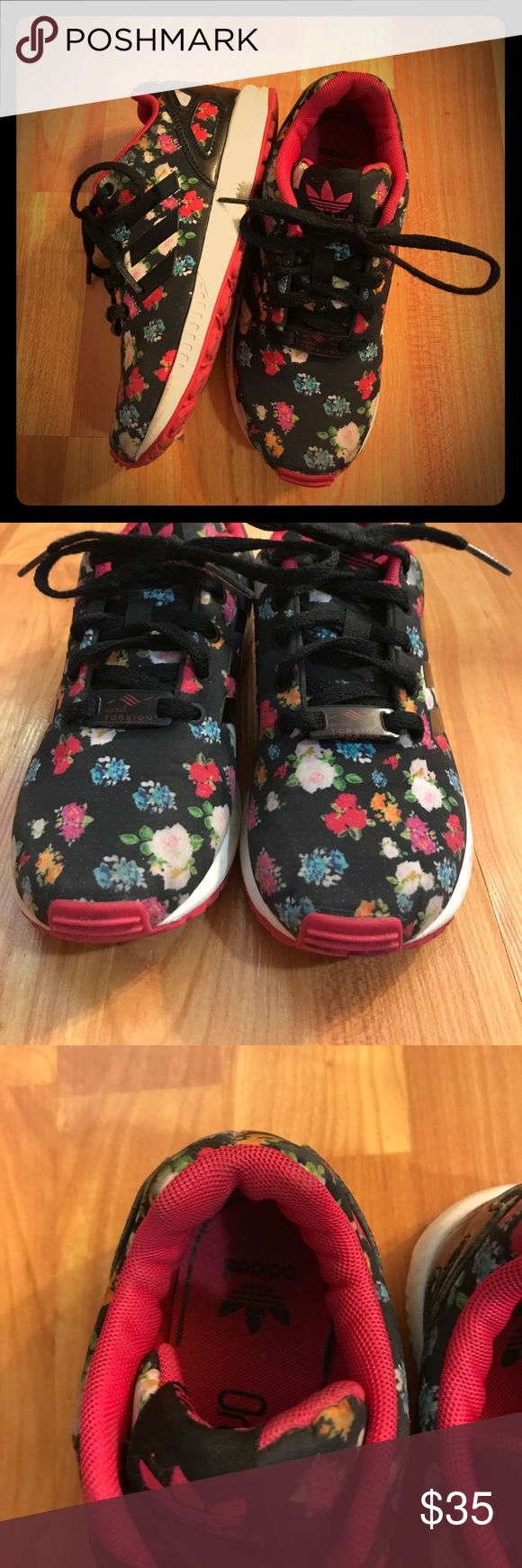 Kids floral adidas ZX Flux trainers size 13 Floral adidas size 13. How cute are these?! adidas Shoes Sneakers