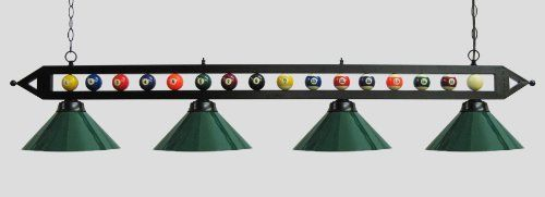 "72"" Black Metal Ball Design Pool Table Light Billiard Lamp W Green Metal Shades by Iszy Billiards. $179.95. 72"" Pool Table Light billiard lamp. Quantity of 4 - 14""  green metal shades - 72""  black metal  rod - Pool ball set mounted to lamp rod makes for a great addition to game room - Mounting hardware and instructions included - Adjustable chain for prefered hanging distance from ceiling - Recommended for 9 foot pool tables - Uses 4 60 watt bulbs ( bulbs not included ..."