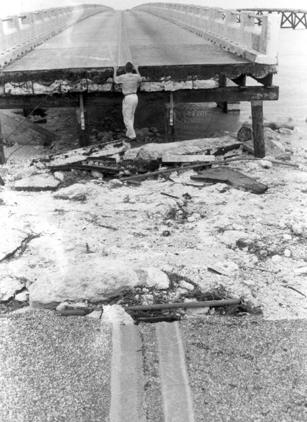 Section of bridge destroyed by Hurricane Donna - Marathon, Florida 1960