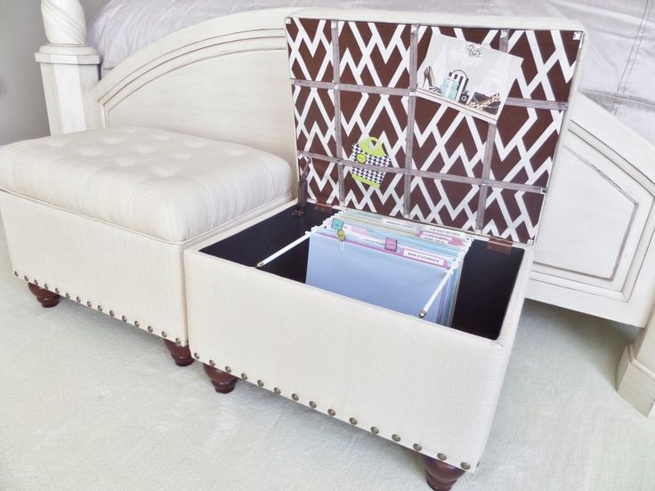 Create my own file storage using a storage ottoman. Does double duty as storage + seating.  BONUS: tucks nicely under the desk when not in use.