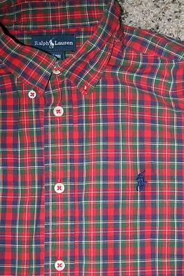Polo ralph lauren red green blue plaid button down for Green plaid button down shirt