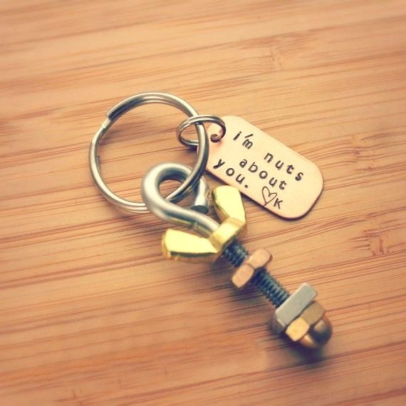 i'm nuts about you keychain, valentine's day gift, gift for guy, valentine gift for man, manly gift, mechanic gift, engineer gift, gift for tool lover, nuts and bolts keychain, valentine gift for hard to buy for guy
