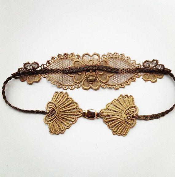 Cinturón de encaje teñido en dorado con por Pulserasvictorianas