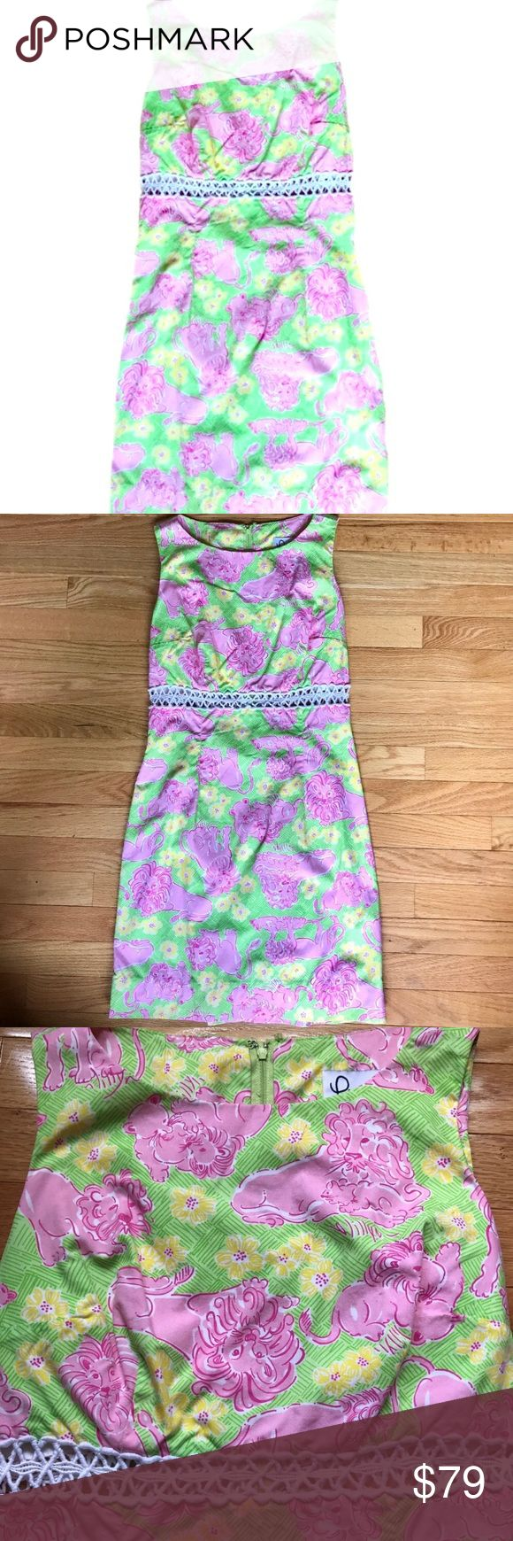 Lilly Pulitzer Green and Pink Lion Shift Dress 2 Adorable Lilly Pulitzer Lounging Lions shift dress in pink and green features a lion-print pattern. A must have piece for your closet perfect for church, brunches, bridal showers, sorority functions, and so much more! Size 2.***Special SUMMER SALE- 20% discount when bundled with any other dress, tank top, skirt, or shorts! Add it to a bundle and I will send you the offer! *** small hook on back came off but easily replaceable/not necessary to…
