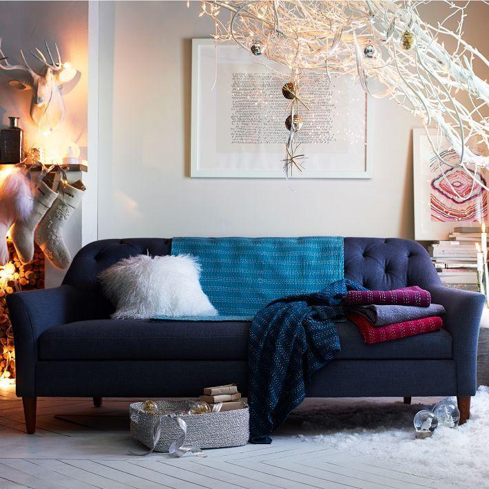 Ainslie Sofa Mid Century Modern Navy Blue Aqua Blanket White Fur