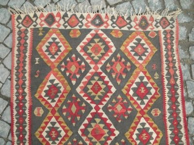 Anatolia Turkish Rug 40 X 90 Antique Hand Woven Kelim Kilim Madder