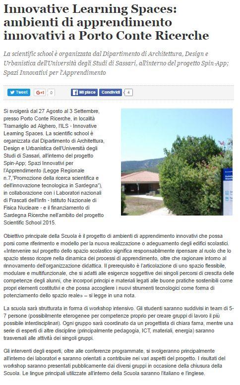 Algheroeco.it, 26 agosto 2016 #ILS #AaA #InnovativeLearningSpaces