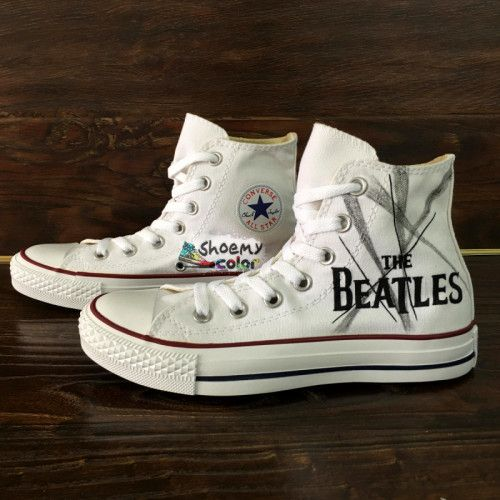 9e45aeb5335801 Men Women the Beatles Converse All Star Hand Painted Canvas Sneakers ...