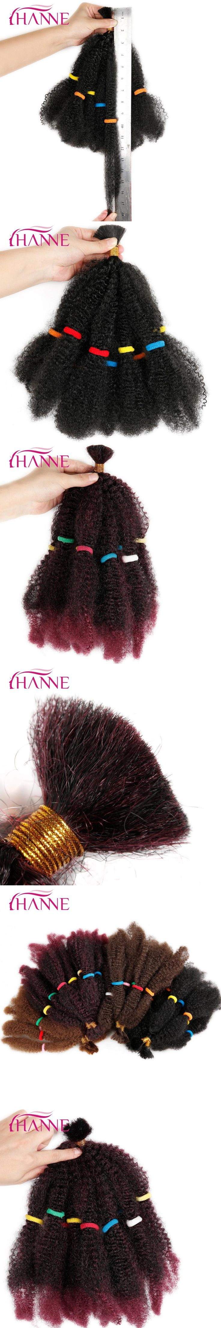 "HANNE Bulk Hair Small Afro Kinky Curly Extensions 12"" Black Or Ombre Mixed 1B#BUG Pre Braided Hair Extension 1pc Synthetic Weave"
