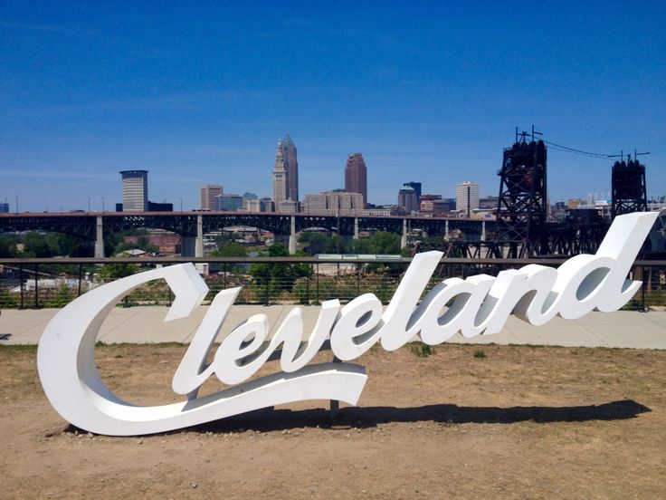 Cleveland sign overlooking the flats. A view of downtown from the southwest