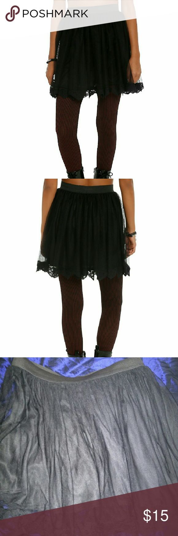 Black lace trim skirt Black lace trim skirt by After Midnight.  Never worn because it is just too big for me unfortunately. Hot Topic Skirts