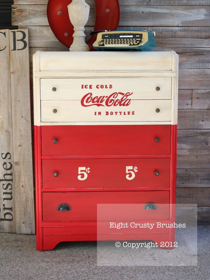 Waterfall dresser with a vintage Coca-Cola design. Love how this turned out!