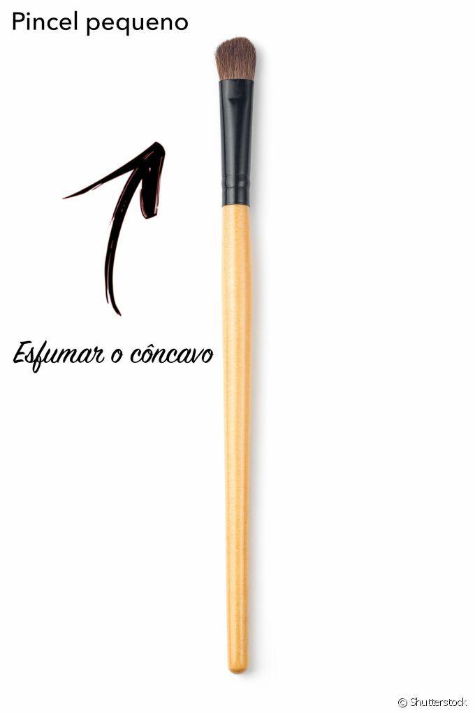 Para esfumar o côncavo e mixar tonalidades de sombra, o pincel pequeno e de cerdas achatadas é o mais indicado