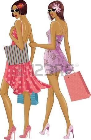 wandelen: Twee chique jonge vrouwen met boodschappentassen geïsoleerd op een witte achtergrond. Onder zonnebrillen de gezichten zijn volledig beschilderd. Stock Illustratie