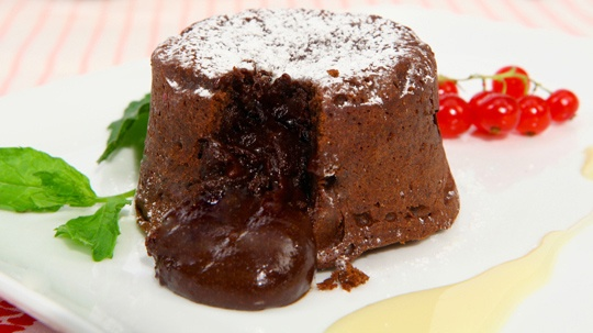 Molten Chocolate Cakes- party for 2 with a candle on top..:)