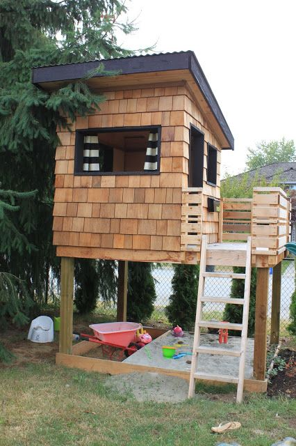 "dirt digging sisters: diy modern playhousebase of the entire structure (including deck) is 92"" x 67"". The deck is 36"" by the entire width of the structure. The floor is approximately 53"" above the ground. The door into the playhouse is 24"" x 50""."