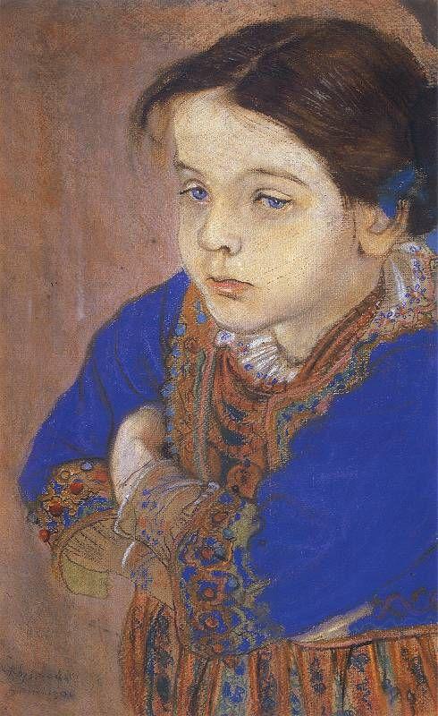 Portret dziewczynki w stroju regionalnym. Pastel z 1901 roku.