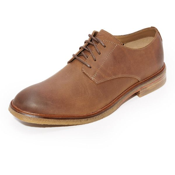 Clarks Clarkdale Moon Oxfords ($160) ❤ liked on Polyvore featuring men's fashion, men's shoes, men's oxfords, dark tan, mens oxford shoes, clarks mens shoes, mens leather shoes and mens leather oxford shoes