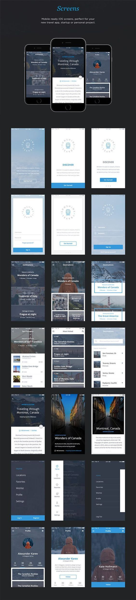 Free Download : Travel App UI Kit (50 screens):