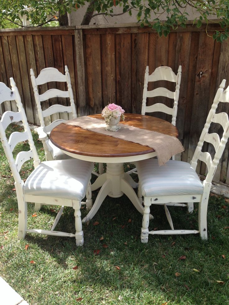 This Lovely Completely Refinished Table Is Painted Cream On The Bottom With  A Beautiful Stained Natural Wood Top. Itu0027s Four Ladder Back Chairs, ...