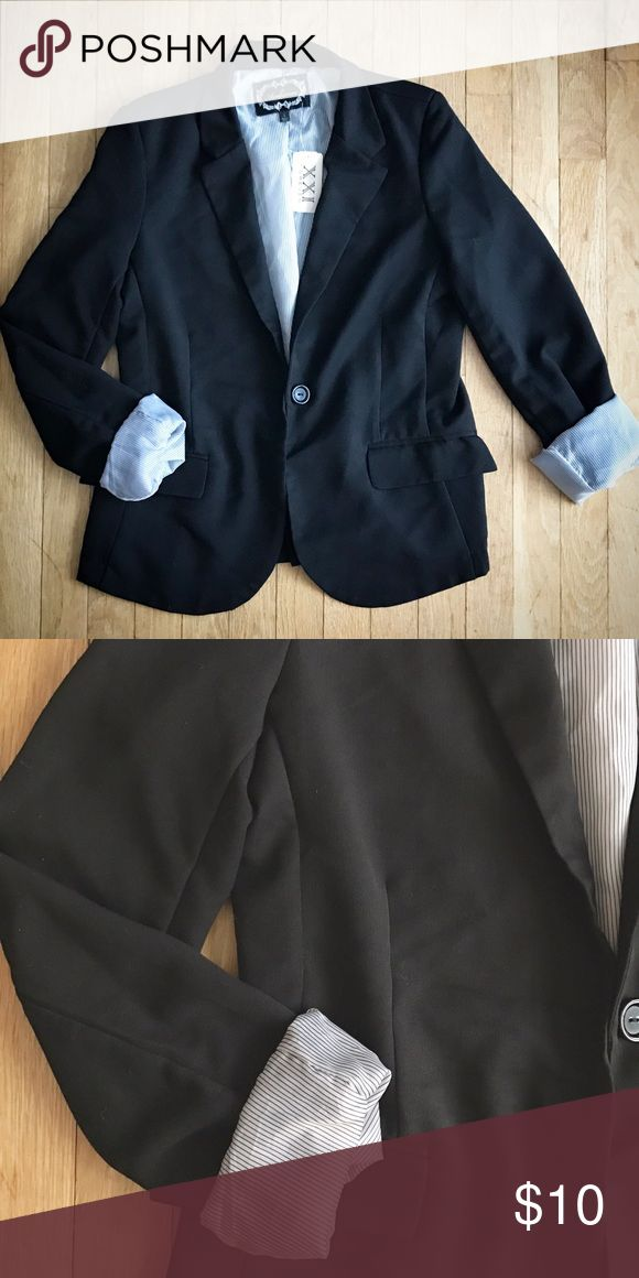 Flattering Cut Black Blazer Cute black blazer. New with tags--ordered online, wanted to return it and never did. The inside lining is very cute when sleeve is turned out. Forever 21 Jackets & Coats Blazers