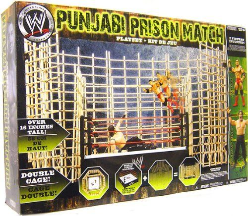 WWE Wrestling Ring Punjabi Prison Match Playset with Batista and The Great Khali by Jakks. $130.39. Official WWE merchandise. 24 x 16 x 5 inch playset. Includes Batista and Great Khali. Originally established by The Great Khali, the Punjabi Prison match consists of bamboo cages that are usually padlocked one-by-one during a match. If all four doors end up locked before the wrestler escapes, they are forced to climb out over the top where the bamboo is fashioned ...