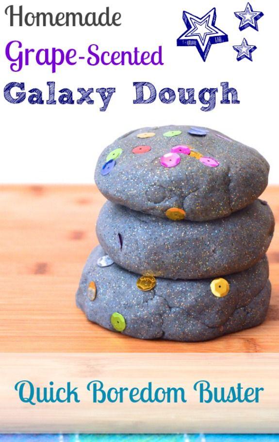 Homemade Grape Scented Galaxy Dough -- quick boredom buster