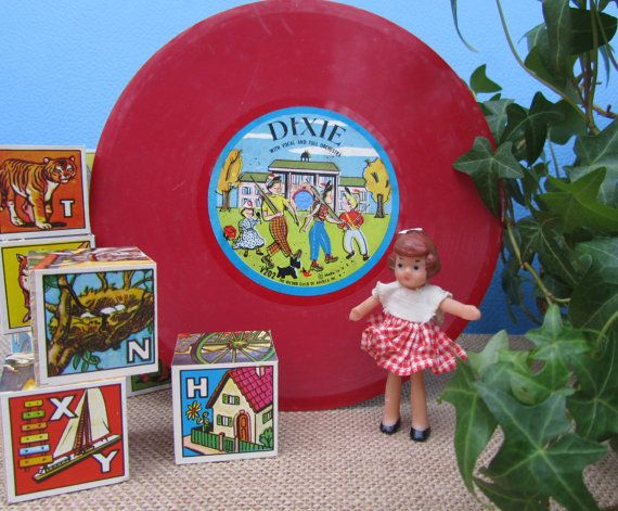 Toy Record Dixie Song Children's Music Red by WillowValleyVintage