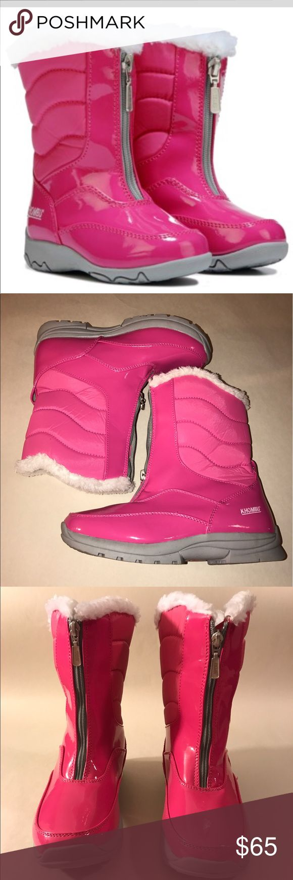 """KHOMBU PINK WAETHER PROOF BOOTS **KHOMBU WOMENS DAVIA PINK WATERPROOF WINTER BOOTS** 💗NO TRADES💗 -brand new -never used -7 3/4"""" shaft height -11"""" shaft circumference  -faux sheer lining -synthetic upper in a winter boot style -round toe -rubber traction outsole for extra protection  -beautiful pink and white colors -zip up to make easier put on -comes from a pet free and smoke free home Khombu Shoes Winter & Rain Boots"""