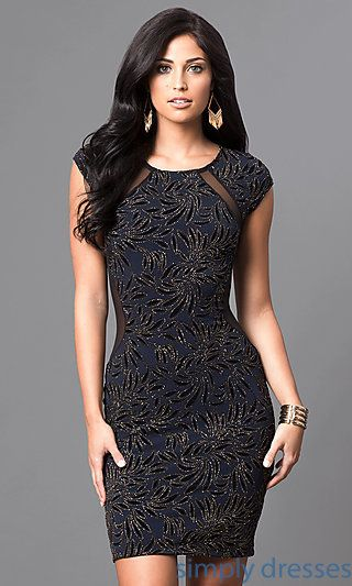 Cap Sleeve Short Beaded Dress with Sheer Back