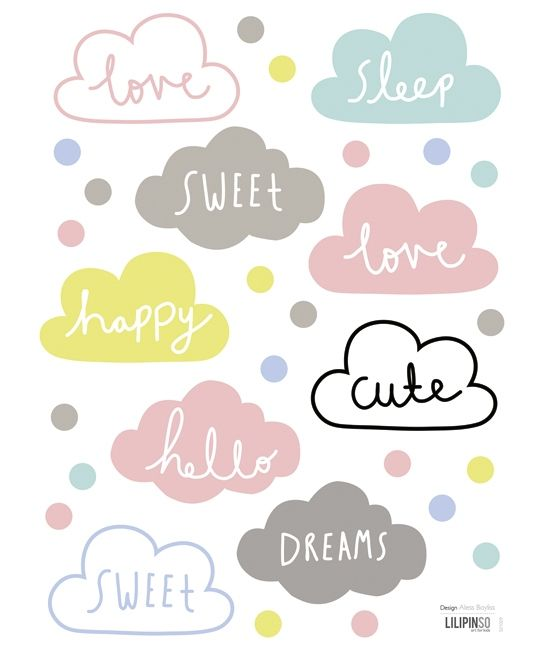 Stickers nuages multicolore
