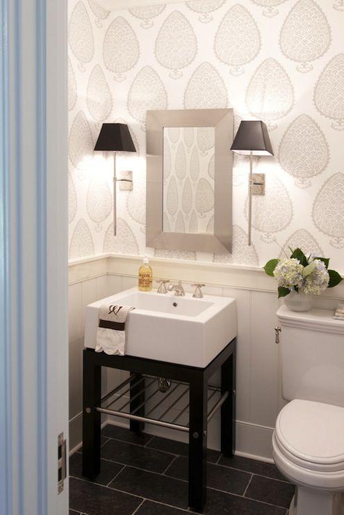 pretty powder room with Katie Ridder Leaf wallpaper