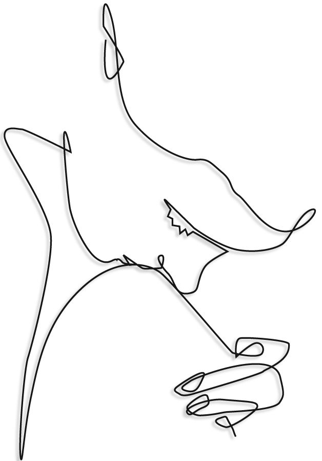 wire mural propasal drawing of of girl kissing her knee