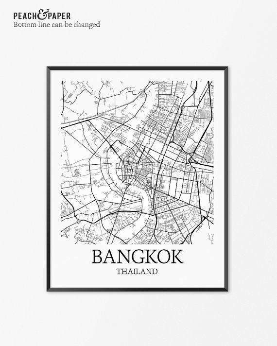 Bangkok Map Art Print Bangkok Poster Map of by PeachandPaper