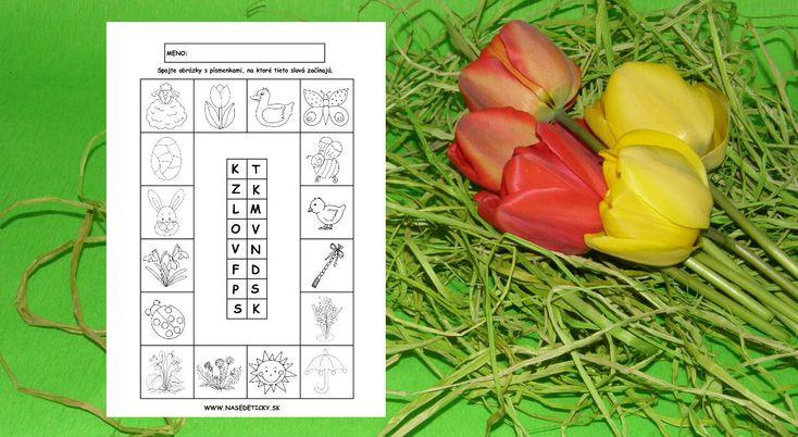 Jarný pracovný list s písmenkami - Aktivity pre deti, pracovné listy, online testy a iné