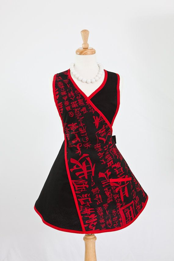Japanese Apron in Red and Black Print by by enchiladamama on Etsy, $32.50