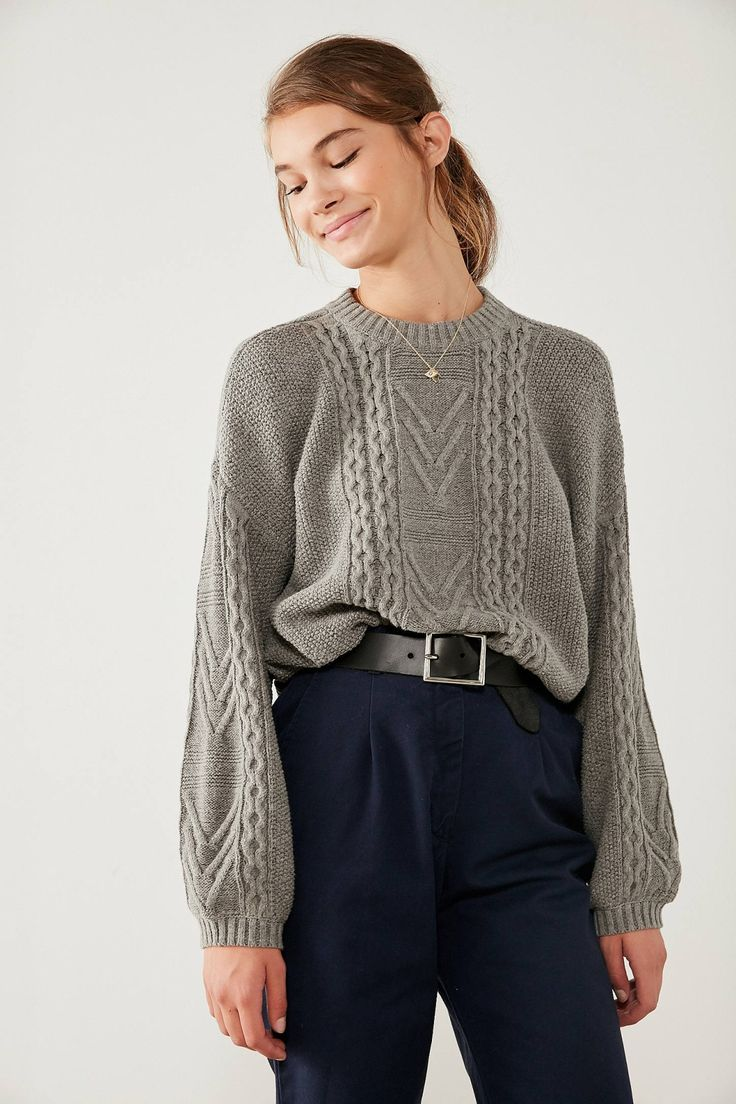 BDG Cable Knit Balloon-Sleeve Sweater | Urban Outfitters