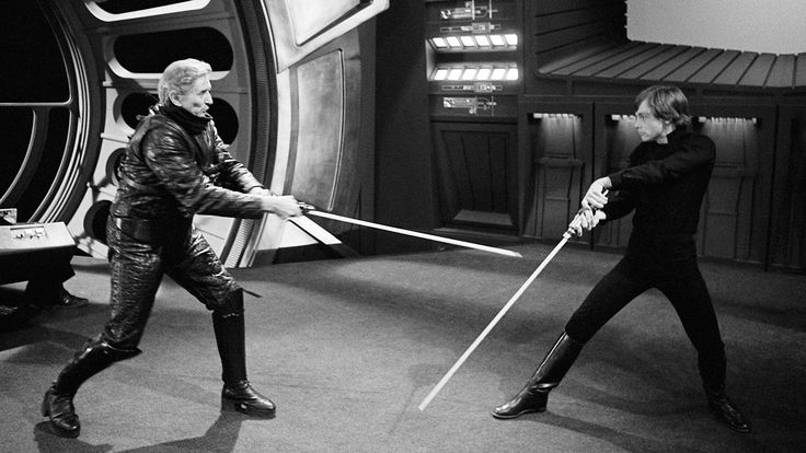 Bob Anderson and Mark Hamill practicing on set of ROTJ.