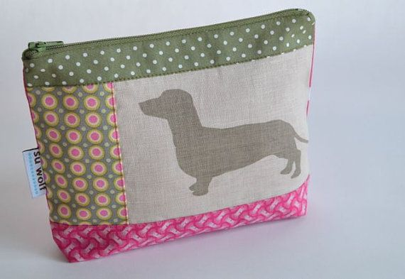 Sausage dog cosmetic purse  pink & green by SuWolf on Etsy, $16.00
