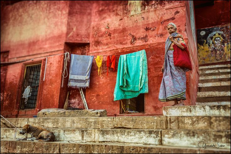 Ghats of Varanasi are broad flight of steps leading down to the banks of the river Ganges. Although rare some inhabitants have an own place to live there.