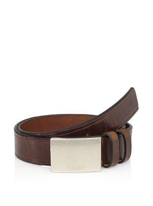 58% OFF Maker & Company Men's Plaque Double Loop Belt (Brown)